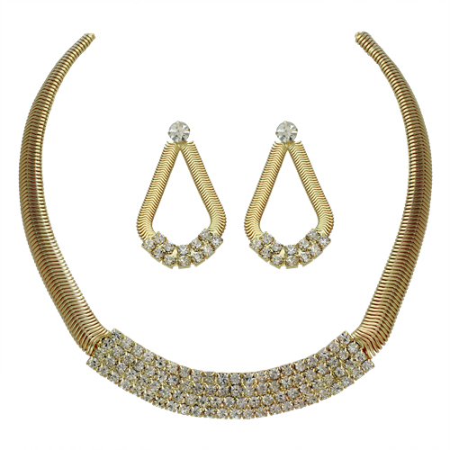 PammyJ Fashions Goldtone Snake Chain With Rhinestones Necklace and Earring Set at Sears.com