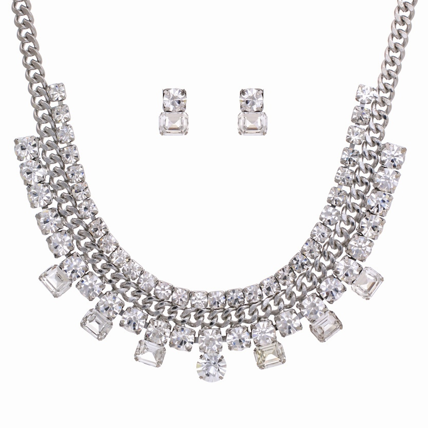 PammyJ Fashions Silvertone Thick Chain Clear Rhinestone Statement Necklace and Earrings Set at Sears.com
