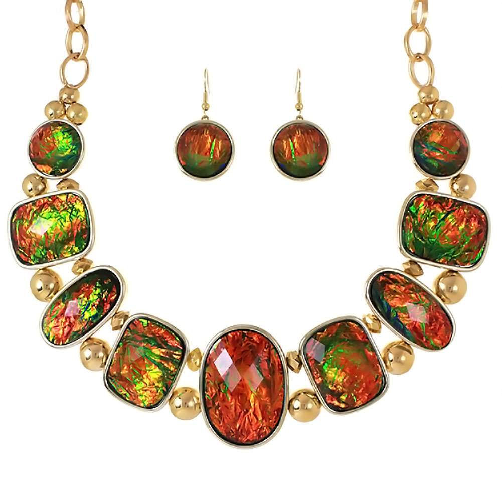 PammyJ Fashions Goldtone Red and Green Iridescent Necklace and Earring Set at Sears.com