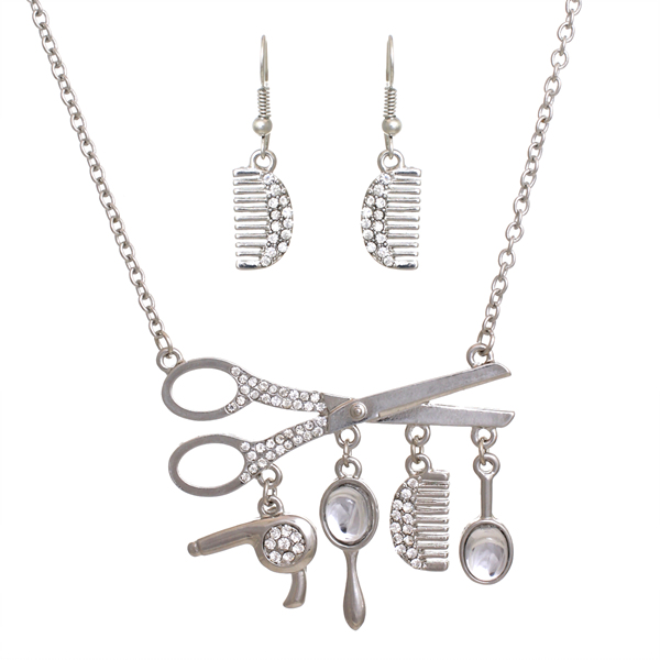 PammyJ Fashions Large Silvertone Hair Scissors Clear Rhinestones Necklace and Earring Set at Sears.com