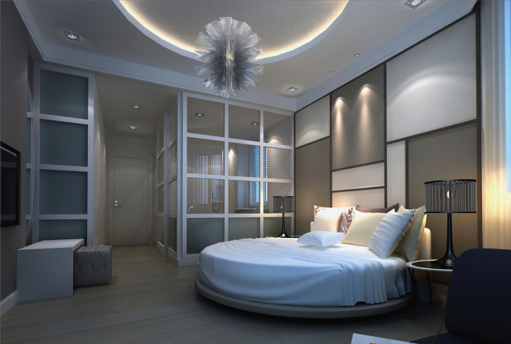 Multi Tone Bedroom Design In Blue Grey And White With Circular Bed And Glass Screen Wall
