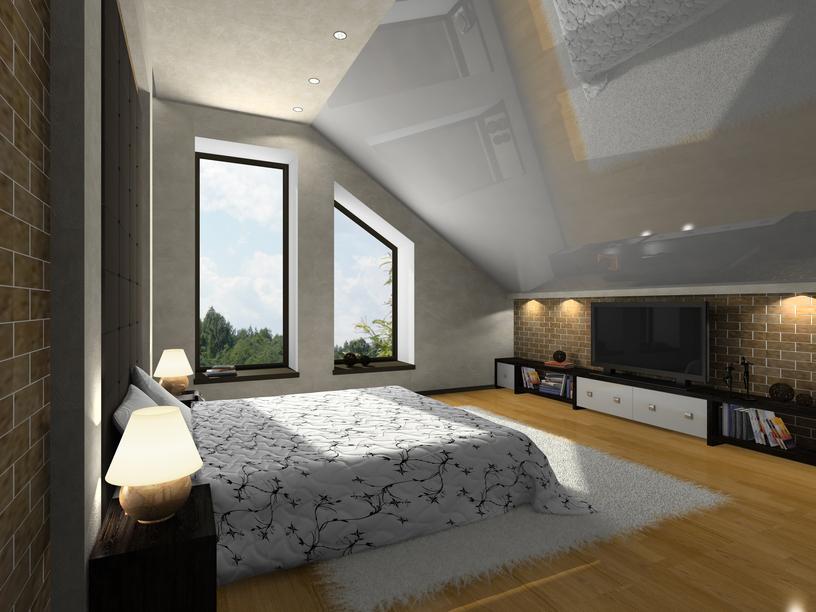 Дизайн спален с косым потолком фото