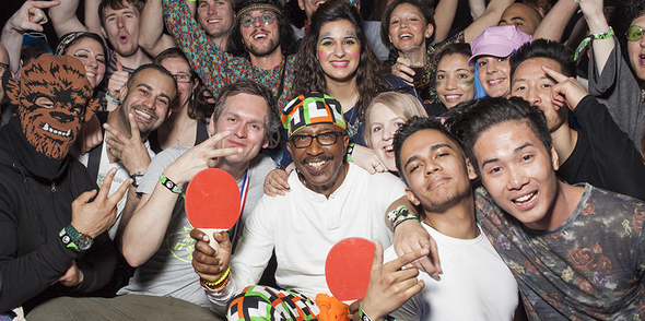 Mr Motivator joins the Pongathon family at Snowbombing!