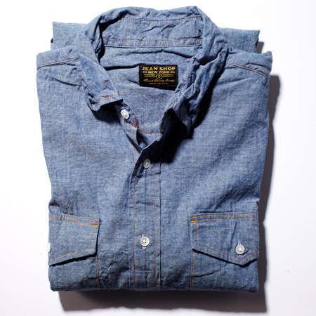 Check out this Denim Cotton Shirt made in New York, NY by Jean Shop. Purchase to support 9 American workers. Gets you 2,772 Boom™ Points.