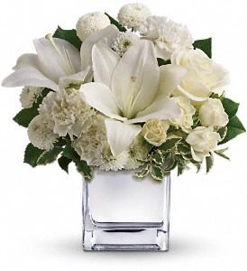 The elegant holiday bouquet includes white roses, white Asiatic lilies, white carnations and white button spray chrysanthemums accented with assorted greenery.