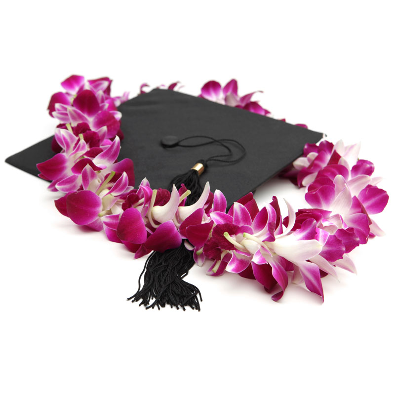 Our double dendrobium lei is a perfect and popular gift for graduation day. Show your grad how proud you are with this gift from the islands.
