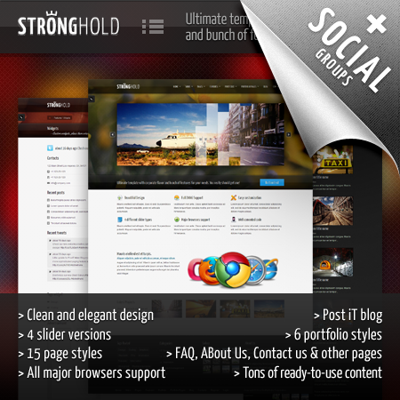 Stronghold Premium DNN Skin // 4 Banners // Unlimited Styles // Corporate Design // Blog