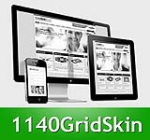 1140 Grid Green Mobile Skin Pack & Portal Templates - Compatible Mobile Device and Desktop Screen