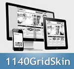 1140 Grid SteelBlue Mobile Skin Pack & FREE MGS Module & Portal Templates - Compatible Mobile Device
