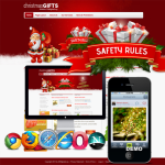 Red/CSS3 Christmas Gifts Skin 12409 with slide banner_compatible with mobile/PC ,DNN4.5.6