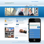 Responsive Blue Business Mobile/PC Skin 10335 with slide banner_ /PC/DNN4.5.6_Free 4modules