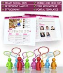 SmartSocial HotPink Mobile and Desktop Responsive Skin Pack & MGS Module & Typography  Templates