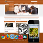 Clean Brown Business Mobile/PC Skin 12408 with slide banner_2Skin Options/Home/inner Skin_4modules