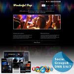 Responsive Skin 60072_Black**Social Groups*Mega Menu*Free Modules*Night Club/Band/Music*DNN6/7.x