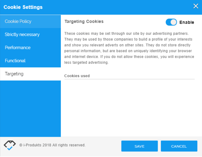 Change cookie settings
