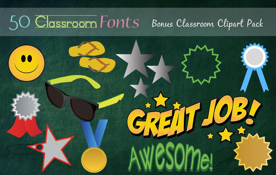 Creative Fonts - Classroom clipart sample 1