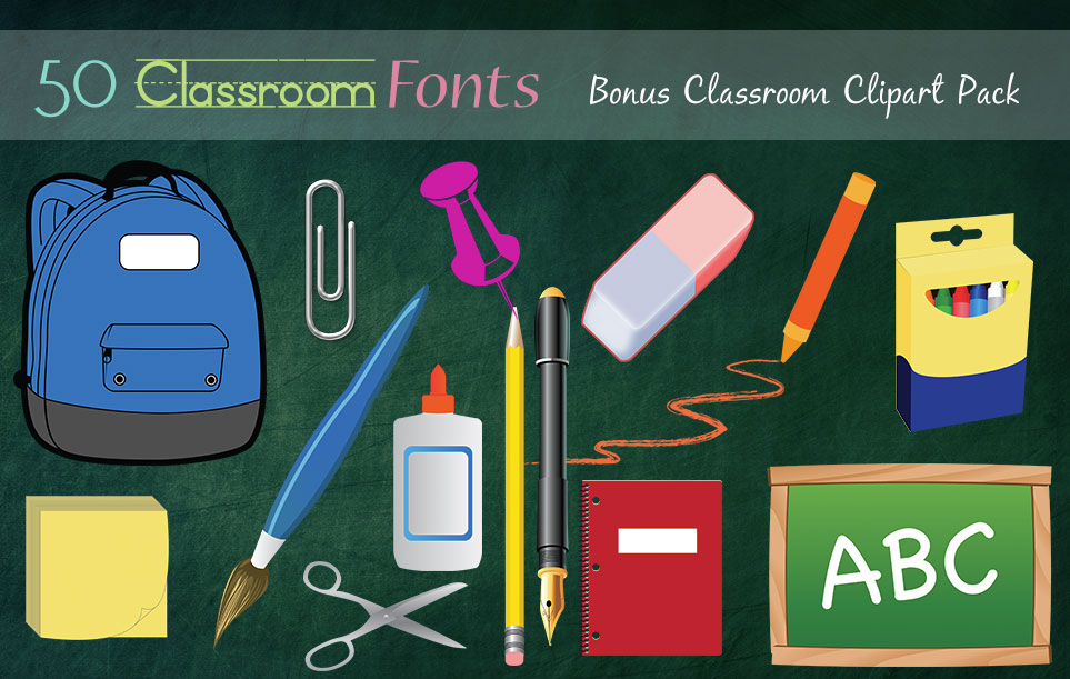 Creative Fonts - Classroom clipart sample 6
