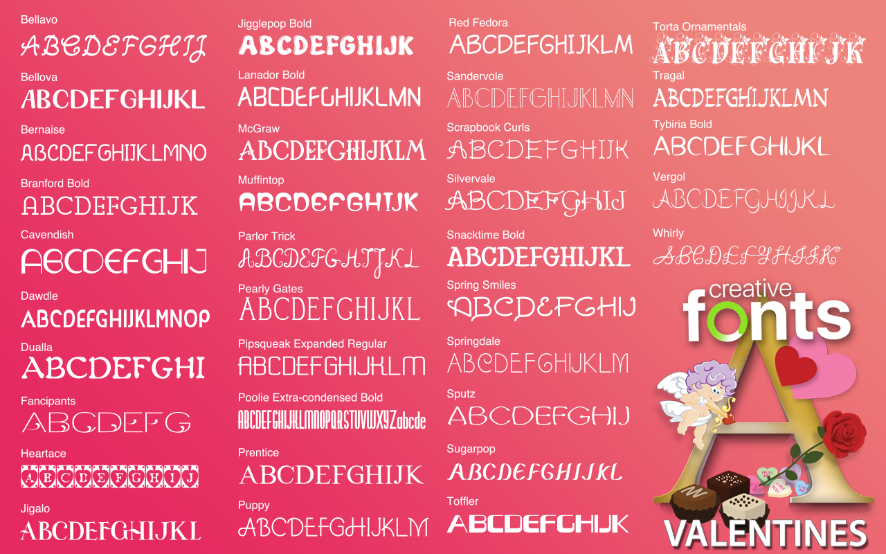 Creative Fonts Valentines Samples 2