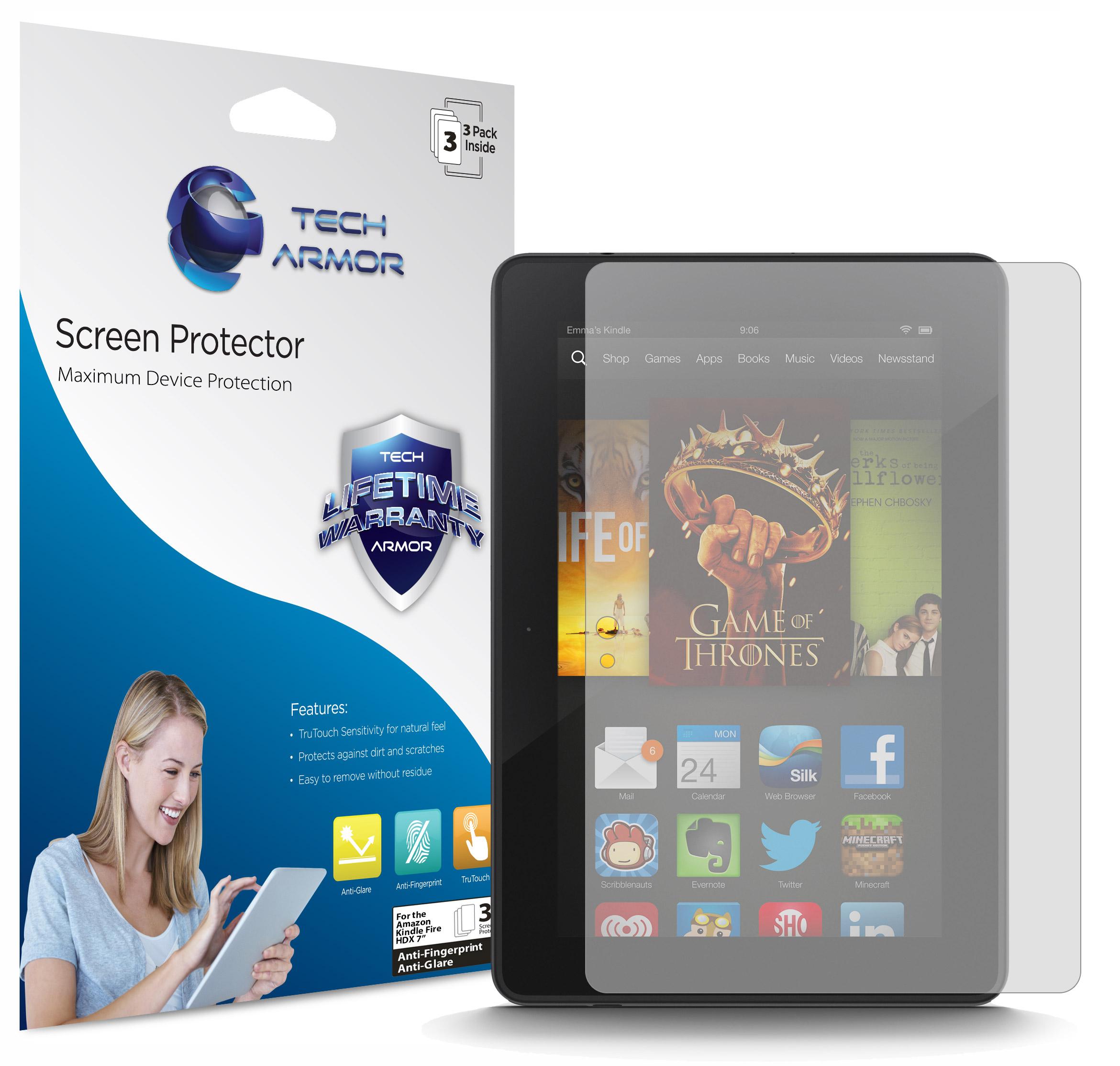 Tech Armor Kindle Fire HDX 7 Anti-Glare/Anti-Fingerprint Matte Screen Protector [3-Pack]
