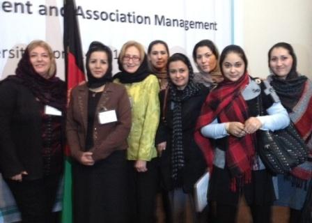 Rosa and Christine with conference participants