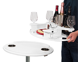 Party Table with Tray Being Carried