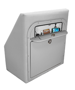 Crest Tilt-Out Trash Can Glovebox Open in Cushion