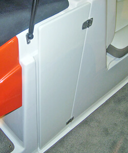 Acrylic Double Open Wind Break Door Showing Door in the Stowed Position