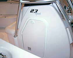 Center Console Door with Aluminum Powdercoated Frame and Starboard Door