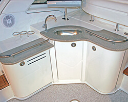 Corian Countertops with Bent Acrylic Doors