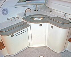 Corian Countertops with Bent Acrylic Doors