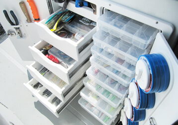 Four drawer eight tray tackle storage unit