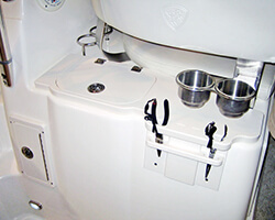 Knife and Pliers Holder with Hinged Sink Lid