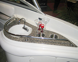 Solid Surface Deckboat Wet Bar Top with Sink Cutout