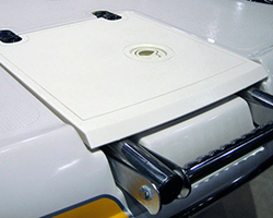 Starbaord Ladder Lid with Style Lines Recessed Stainless Butt Hinges and Front Angle Beveled to Match Fiberglass