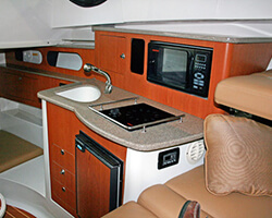 Upper Galley Lower Drawer Unit and AFT Cabin Cabinets Along with Corian Countertop