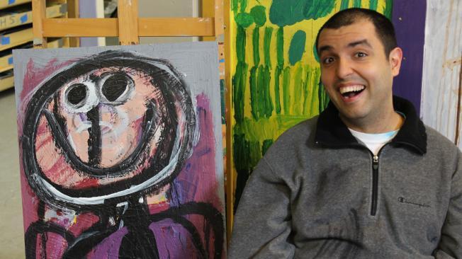 Pouya with finished art piece