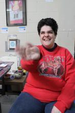 Rebecca waving