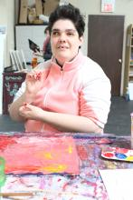 Rebecca working on Square Foot piece 2