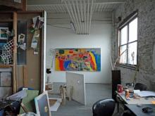 Mural by Tim Stone/Teresa Albor.  All other work by Veronica Bruce.  Image taken in the studio of Veronica Bruce.