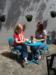 Good coffee, a sunny patio and quiet conversation are the ingredients to build relationships among guests at Jubilatte Coffeehouse.