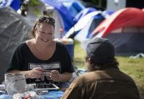 Ingrid McIntyre working with Nashville, Tennessee's displaced tent city population. Photo courtesy Rethink Church.