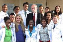 Dr. James Sullivan with student volunteers from the Meharry 12 South Community Clinic in Nashville, Tenn. Photo courtesy Meharry.