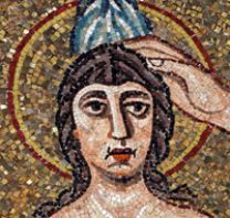 Baptism of Christ, mosaic, detail, from Ravenna Baptistery