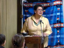 Cynthia Kent speaks at the Native American Banquet on Wednesday, June 18, part of the Rocky Mountain Annual (regional) Conference gathering in Pueblo, Colo. The event was held at First United Methodist Church in Pueblo. Photo by Sam Hodges, UMNS; Photo by Sam Hodges, UMNS