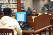Students work on computers in the library at Philander Smith College in Little Rock, Ark. Photo courtesy of Philander Smith College.  Accompanies UMNS story #044. 2/17/12.; Philander Smith College