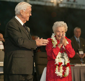 Bishop James K. Matthews applauds his wife on the occasion of her 90th birthday during the 2004 General Conference in Pittsburgh. A UMNS file photo by Mike DuBose.