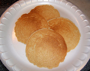 A plate of fresh pancakes made with breadfruit flour was made at the Hennepin Avenue United Methodist Church test kitchen.