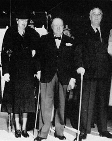 First Lady Eleanor Roosevelt, Winston Churchill and President Franklin D. Roosevelt prepare to leave the White House for Christmas services at Foundry Methodist Church in this 1941 photo. A UMNS photo courtesy of Foundry United Methodist Church/Acme Photos.