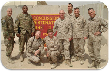 The Rev. Dave Smith, Army colonel and chaplain (far left), stands with some of his Marine colleagues. A UMNS photo courtesy of Rev. Dave Smith.
