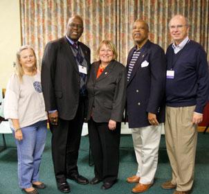 The new Council of Bishops officers from left to right are Bishop Mary Ann Swenson, Bishop Warner H. Brown Jr., Bishop Rosemarie Wenner, Bishop Robert Hayes Jr. and Bishop Peter Weaver.